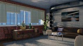 O design de interiores moderno 3D do apartamento do sótão rende Ilustração Stock