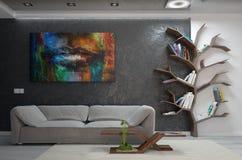 O design de interiores moderno da sala de visitas, 3d rende ilustração stock