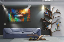 O design de interiores moderno da sala de visitas, 3d rende ilustração do vetor