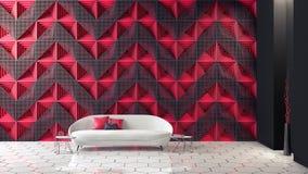 O design de interiores moderno da sala de visitas futurista 3d rende ilustração stock