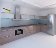 O design de interiores moderno do estilo da cozinha, 3D rende Foto de Stock