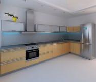 O design de interiores moderno do estilo da cozinha, 3D rende Imagens de Stock Royalty Free