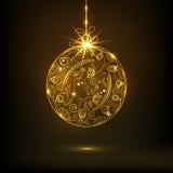 O design floral bonito decorou a bola X-mas dourada para celebrações do Feliz Natal ilustração do vetor
