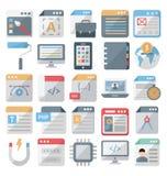 O design web e os ícones isolados desenvolvimento do vetor ajustaram-se editável ilustração do vetor