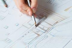 Detalhes do desenho da mão de interior ilustração stock