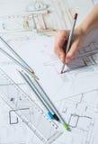 Detalhes do desenho da mão do interior ilustração royalty free