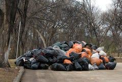O desperdício de jarda deixa cair fora o local fotografia de stock