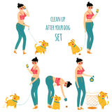 O desperdício do cão da limpeza da mulher, limpa após seu animal de estimação, ilustração do vetor Fotos de Stock Royalty Free