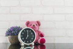 O despertador preto e branco do close up para decora no pulso de disparo do ` de 7 o com boneca e planta do urso na tabela de vid Foto de Stock Royalty Free