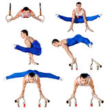 O desportista realiza o exercício difícil na ginástica artística Imagem de Stock