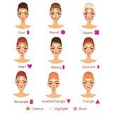 O destaque, contorno e cora para a forma fêmea diferente da cara Imagens de Stock Royalty Free