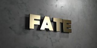O destino - sinal do ouro montado na parede de mármore lustrosa - 3D rendeu a ilustração conservada em estoque livre dos direitos ilustração stock