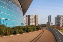 O detalhe dos Aquatics centra-se, rainha Elizabeth Olympic Park imagens de stock royalty free