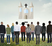 O deus da igreja acredita Jesus Pray Concept imagens de stock