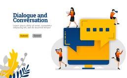 O diálogo e a conversação com conceito do diálogo da bolha e da ilustração do vetor da tela de monitor podem ser uso para, página ilustração stock