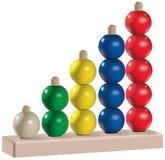 O di plastica giocattolo dell'abaco colorato cinque di legno Immagine Stock