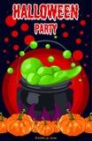 O Dia das Bruxas doce Halloween feliz Cartaz, cartão para Dia das Bruxas O feriado, caldeirão das bruxas, poção, garrafas Foto de Stock Royalty Free