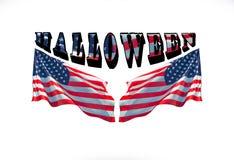 O Dia das Bruxas feliz com as duas bandeiras dos EUA, imagem de stock