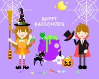 O Dia das Bruxas feliz com a bruxa e o dracula ilustração do vetor