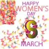 O dia das mulheres, mulheres da borboleta 3d 8 8 de março o 8 de março 3D o dia das mulheres felizes do rosa imagem de stock