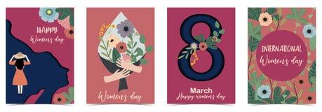 O dia das mulheres felizes internacionais alaranjadas do rosa com mulheres, flor e folha imagens de stock royalty free