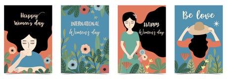 O dia das mulheres felizes internacionais azuis de Ornage com mulheres, flor e folha imagem de stock royalty free