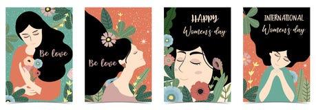 O dia das mulheres felizes internacionais do verde de Ornage com mulheres, flor e folha fotos de stock royalty free