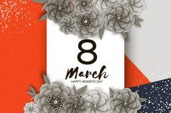 O dia das mulheres felizes monocromáticas 8 de março Dia de mães na moda Cartão de cumprimentos floral tropical exótico cortado p ilustração do vetor