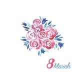 O dia das mulheres internacionais do cartão Fotografia de Stock Royalty Free