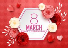O dia das mulheres internacionais felizes com fundo dos corações ilustração do vetor
