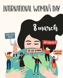 O dia das mulheres internacionais Ilustração do vetor com nacionalidades e culturas diferentes das mulheres ilustração royalty free