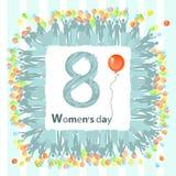 7d1b5c062 O dia das mulheres s é uma figura do balão oito quadrado ilustração do vetor