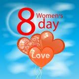 9dfd2bcd0 O dia das mulheres s é uma figura oito balões das nuvens ilustração do vetor