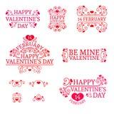 O dia de Logo Set Valentine no vintage, estilo retro ilustração stock