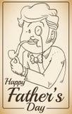 O dia de Lord Celebrating Father elegante no cartaz retro, ilustração do vetor Imagens de Stock Royalty Free