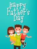 O dia de pai feliz da inscrição Paizinho com crianças Illustrati do vetor ilustração do vetor