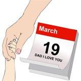O dia de pai, um paizinho e uma criança que guardam as mãos Fotos de Stock