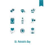 O dia de Patricks de Saint isolou o grupo do ícone Fotografia de Stock Royalty Free