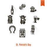 O dia de Patricks de Saint isolou o grupo do ícone Fotos de Stock Royalty Free