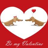 O dia de Valentim, cão com balões, texto do cartão seja meu Valentim Fotografia de Stock