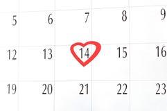 O dia de Valentim, calendário Fotografia de Stock