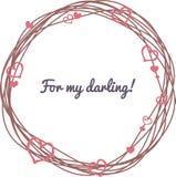 O dia de Valentim do cartão Grinalda com corações Imagem de Stock Royalty Free