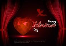 O dia de Valentim feliz com um coração e um cupido atrás das cenas Fotografia de Stock Royalty Free