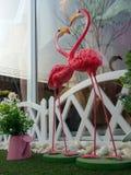 O dia de Valentim feliz do coração dos flamingos do sibilo em terras do jogo Fotografia de Stock