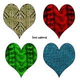 O dia de Valentim feliz fez malha os corações ajustados Fotografia de Stock Royalty Free