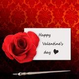 O dia de Valentim feliz, a mensagem e rosa vermelha imagem de stock