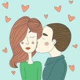 O dia de Valentim loving dos pares da ilustração Fotos de Stock