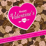 O dia de Valentim no fundo colorido do partido do chocolate do coração Chocolate do coração do vetor no fundo colorido Imagem de Stock Royalty Free