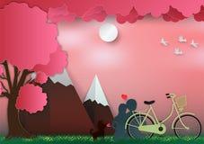 O dia de Valentim no fundo cor-de-rosa com homem e a mulher no amor têm a bicicleta e uma árvore estilo de papel da arte Ilustraç ilustração stock