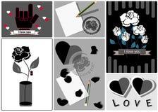 O dia de Valentim, o cartão de casamento e o amor cardam preto e branco Fotos de Stock
